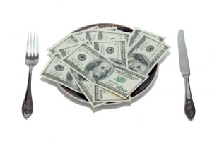 dollars on the plate