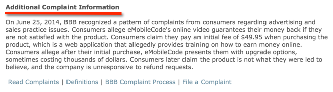 BBB complaint about emobile code