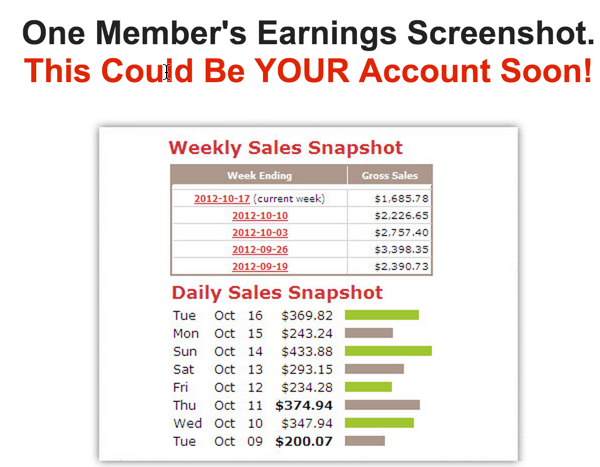 fake earnings screenshot