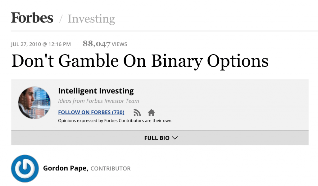 Don't gamble on binary options forbes