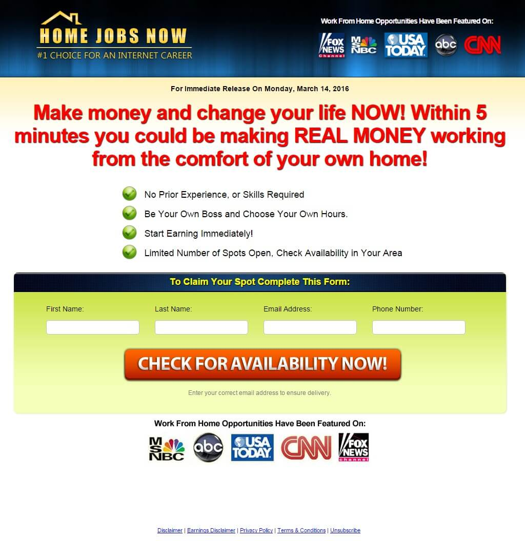 home jobs now signup