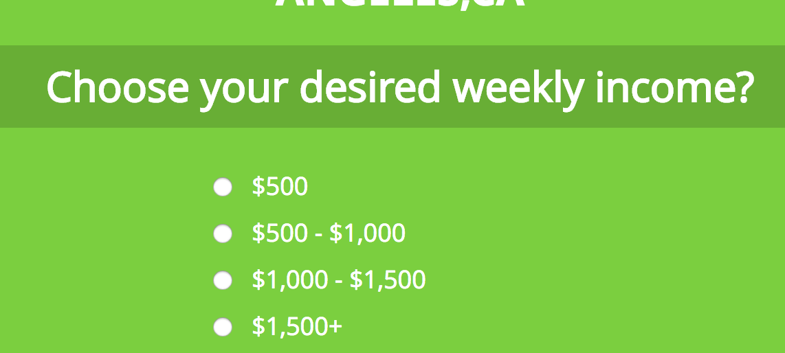 desired weekly income