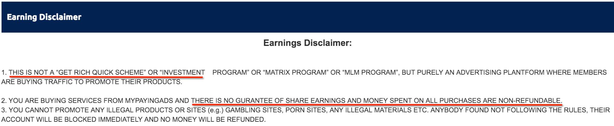 earning disclaimer