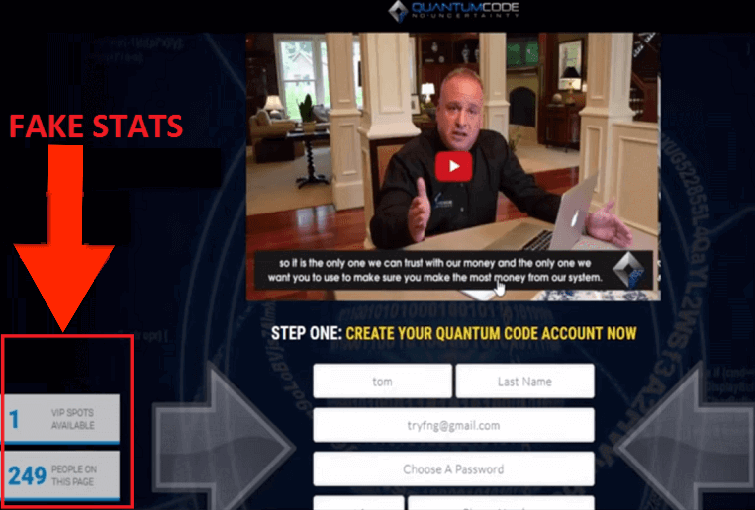 Michael Crawford the Quantum Code fake stats