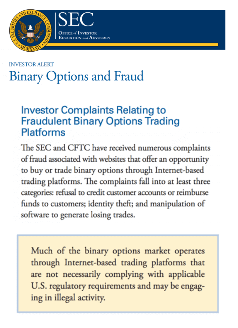 SEC on binary options and fraud