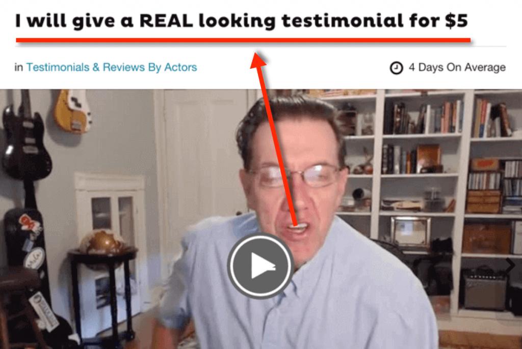 fake testimonial from fiverr