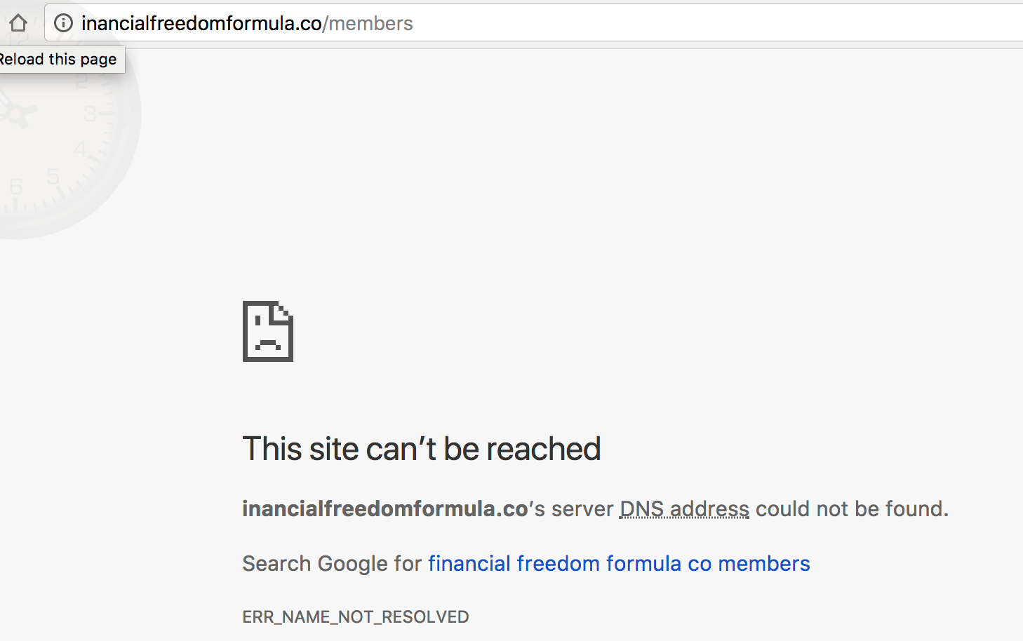 Financial Freedom Formula site is not working