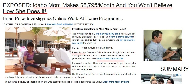fake news site of Is Automated Daily Income