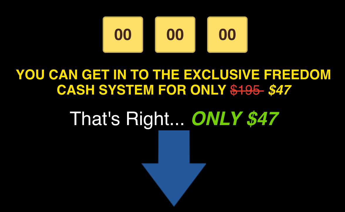 Freedom Cash System signup cost