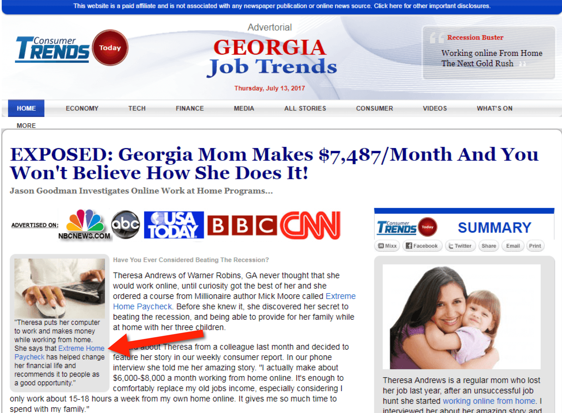 Extreme Home Paycheck fake news site