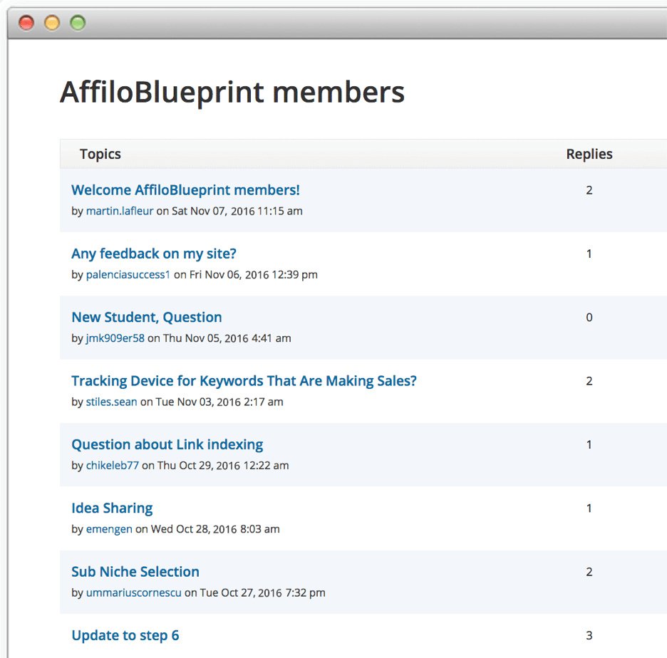 Affiloblueprint members area