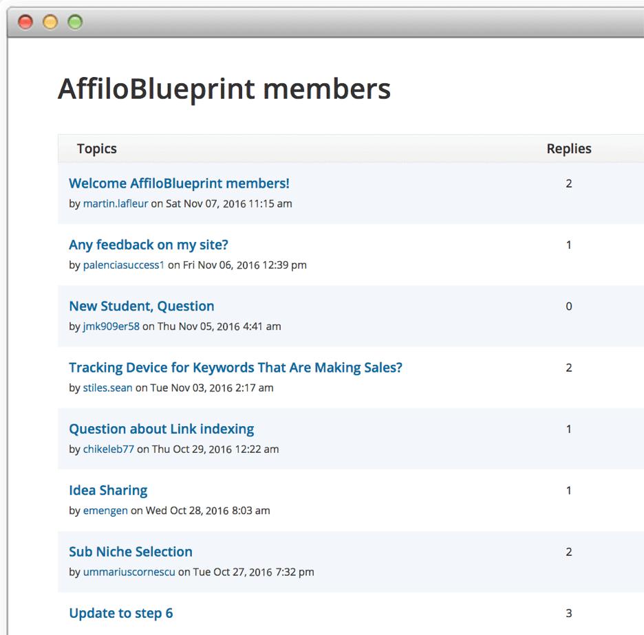 Affiloblueprint members area