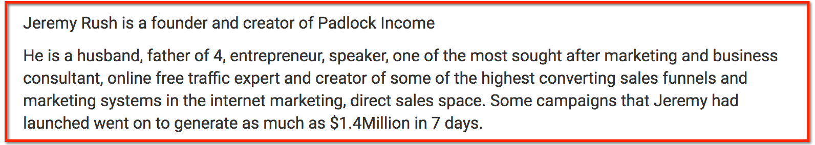 income proof Jeremy Rush