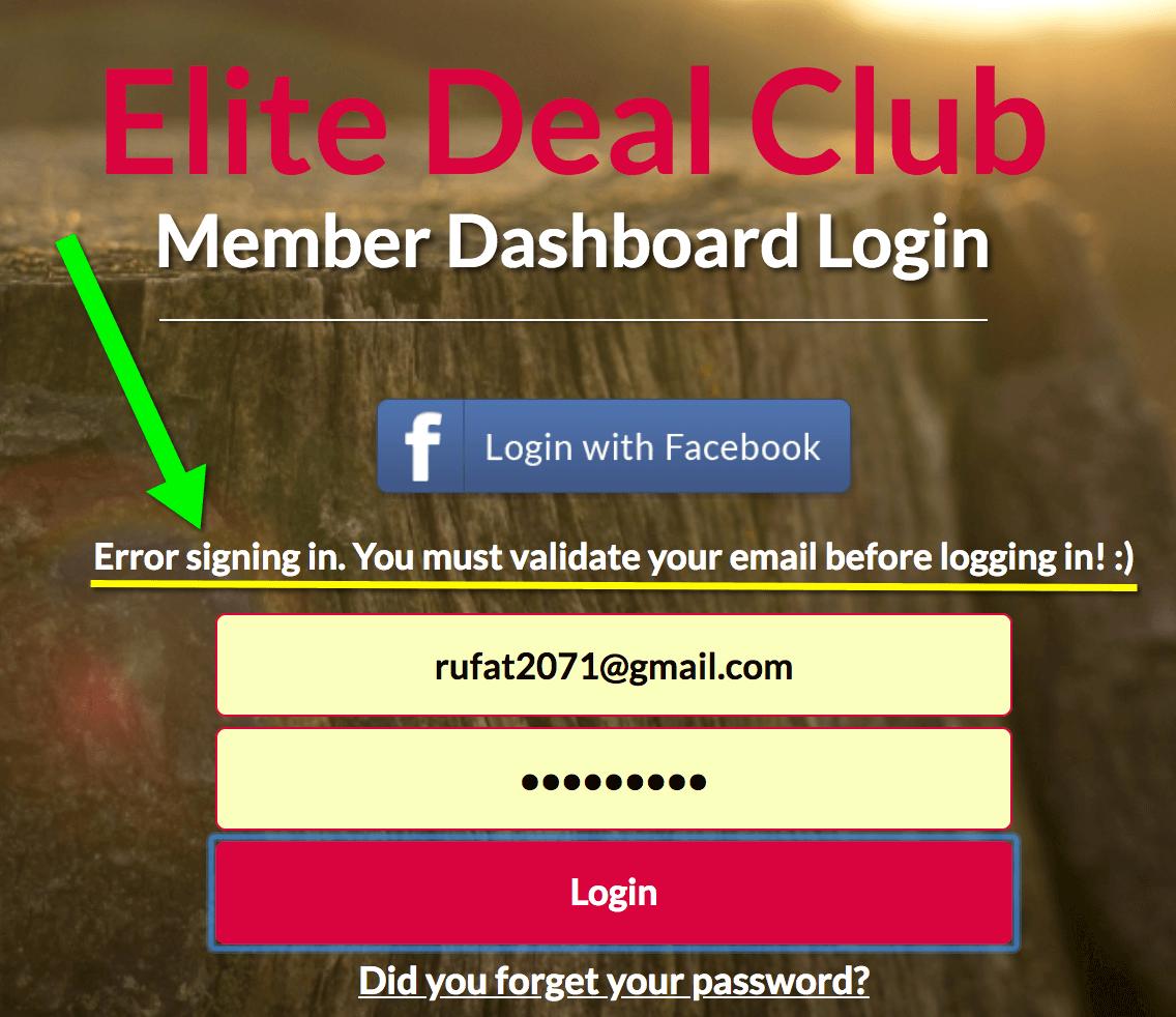 Elite Deal Club member login