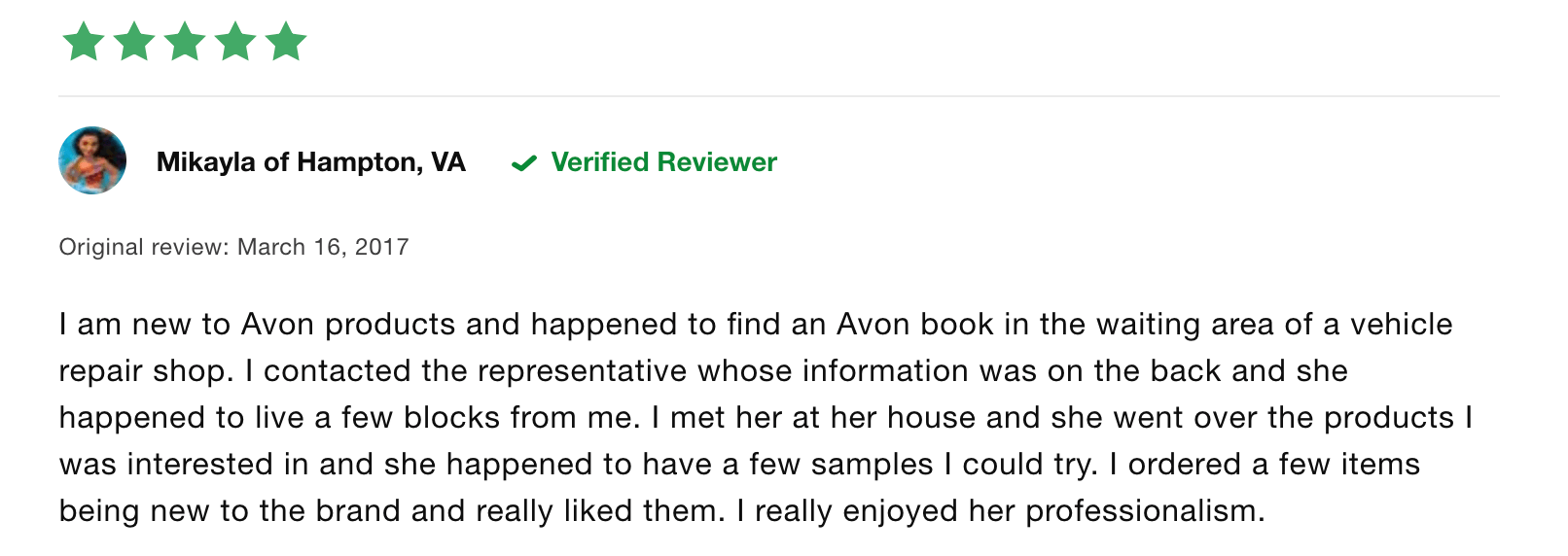 avon positive review