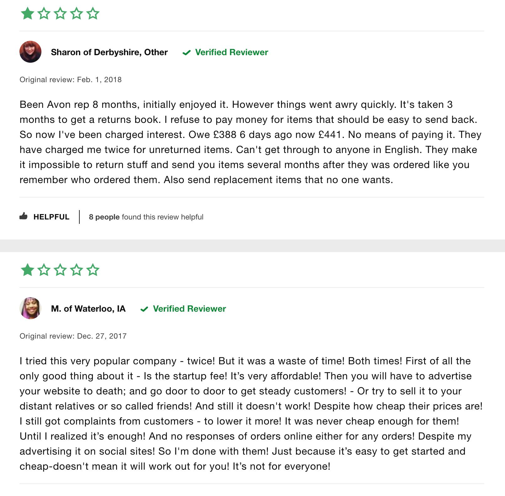 avon negative review