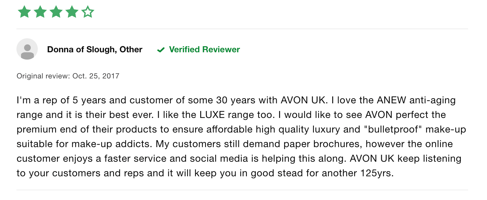 avon positive review
