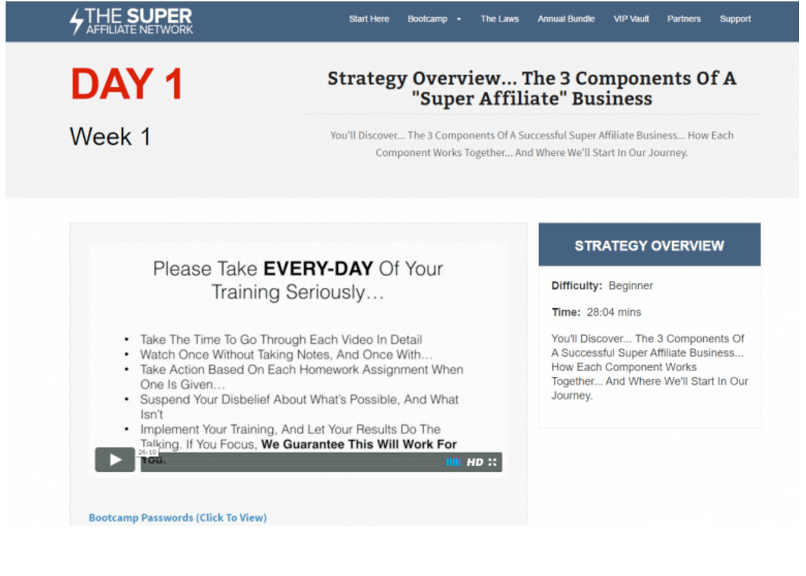 the Super Affiliate Success System lessons