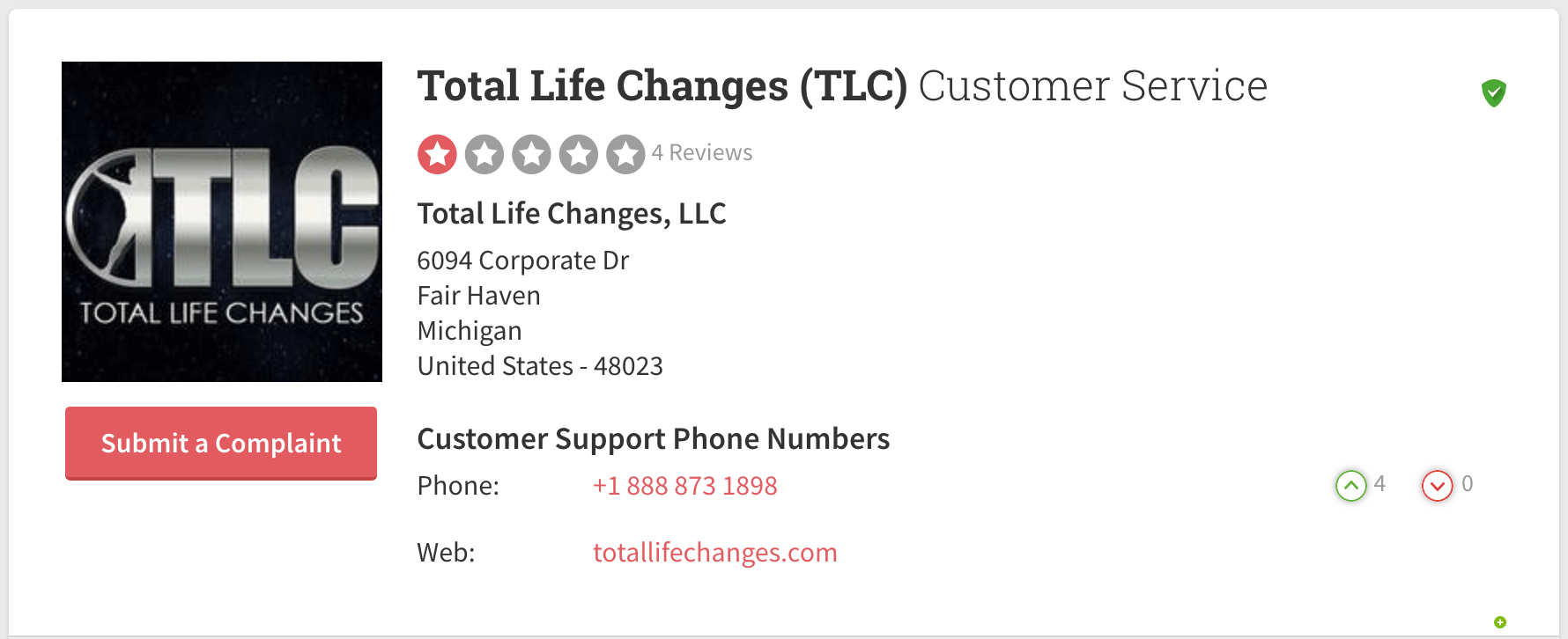 total life changes complaints