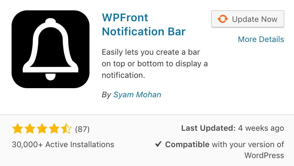 wp front notification