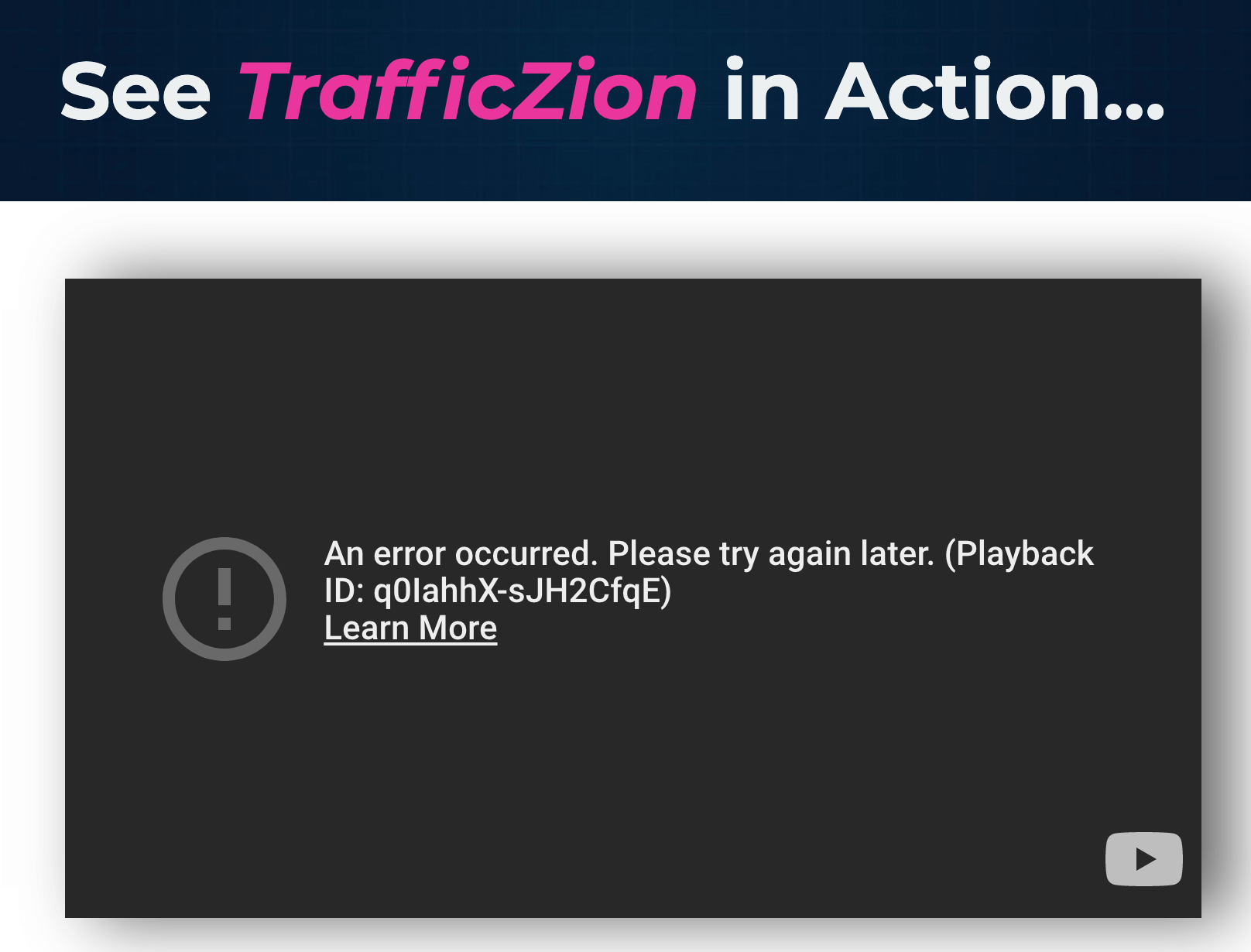 trafficzion error