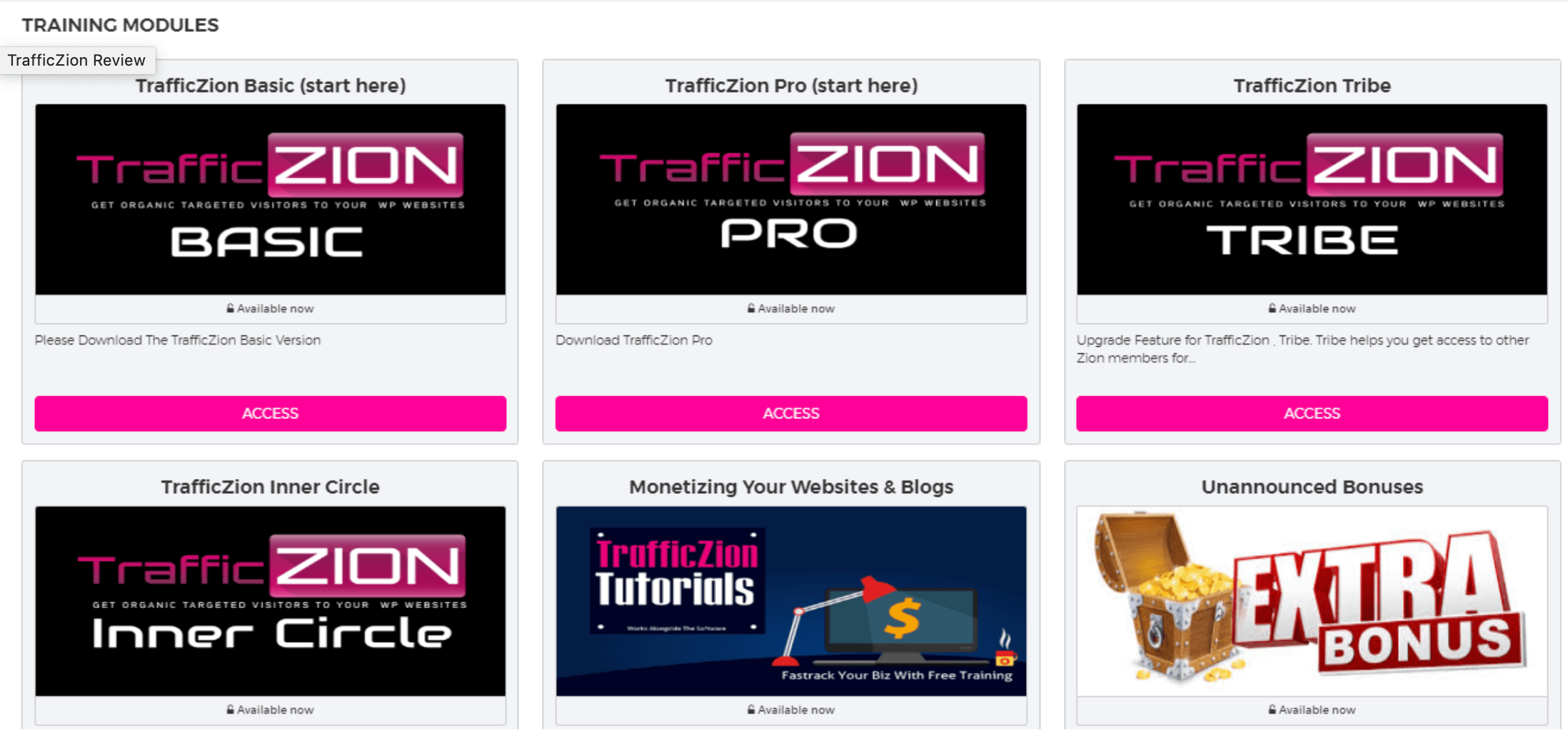 trafficzion modules