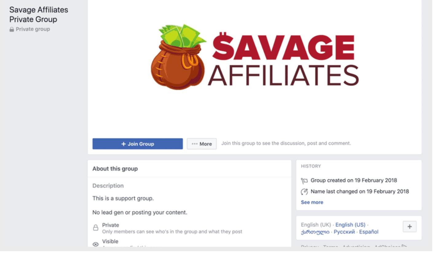 Savage Affiliates Facebook