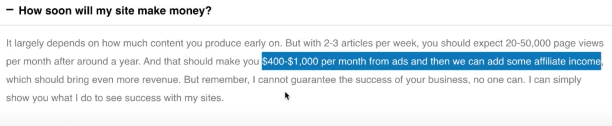 no-guarantee of income